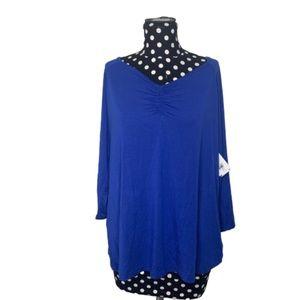 Sejour NWT Royal Blue Ruched V-Neck Top Size 1X